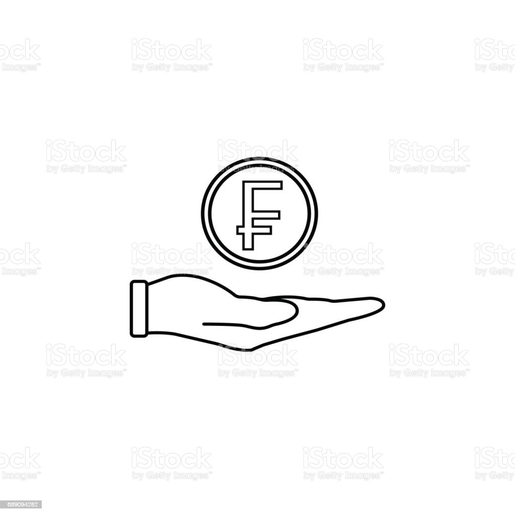 Coin in hand line icon, finance and business vector art illustration