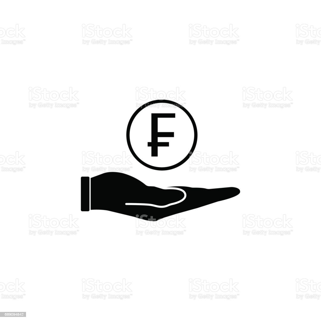 Coin in hand solid icon, finance and business vector art illustration
