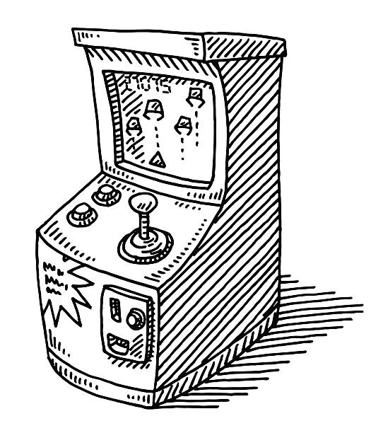 Coin Operated Arcade Video Game Drawing Hand-drawn vector drawing of a Coin Operated Video Game. Black-and-White sketch on a transparent background (.eps-file). Included files are EPS (v10) and Hi-Res JPG. game stock illustrations