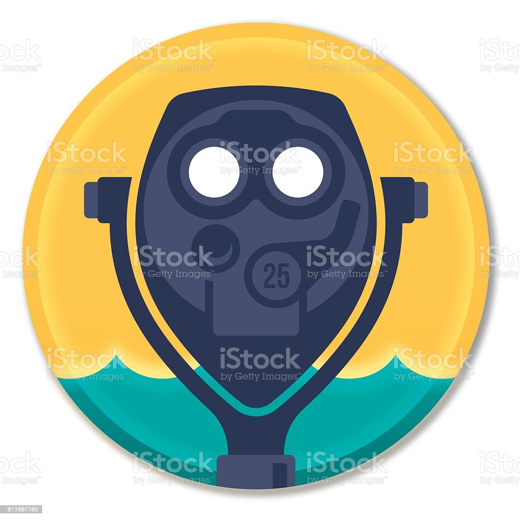 Coin Operated Tourist Binoculars Symbol vector art illustration