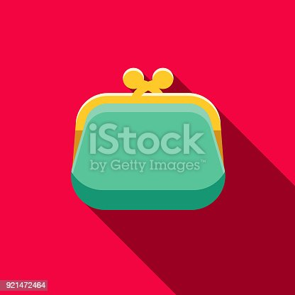 istock Coin Purse Flat Design Casino Icon with Side Shadow 921472464