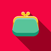 Coin Purse Flat Design Casino Icon with Side Shadow