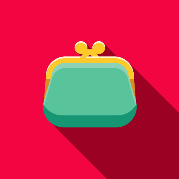 Coin Purse Flat Design Casino Icon with Side Shadow A flat design styled casino icon with a long side shadow. Color swatches are global so it's easy to edit and change the colors. change purse stock illustrations