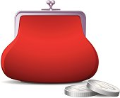 Red Coin Purse. The archive consist of  EPS, PDF and hi-resolution JPG format
