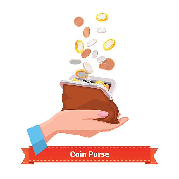 Coin rain to a purse in woman hand Coin rain to a purse in woman hand. Flat style vector illustration. change purse stock illustrations