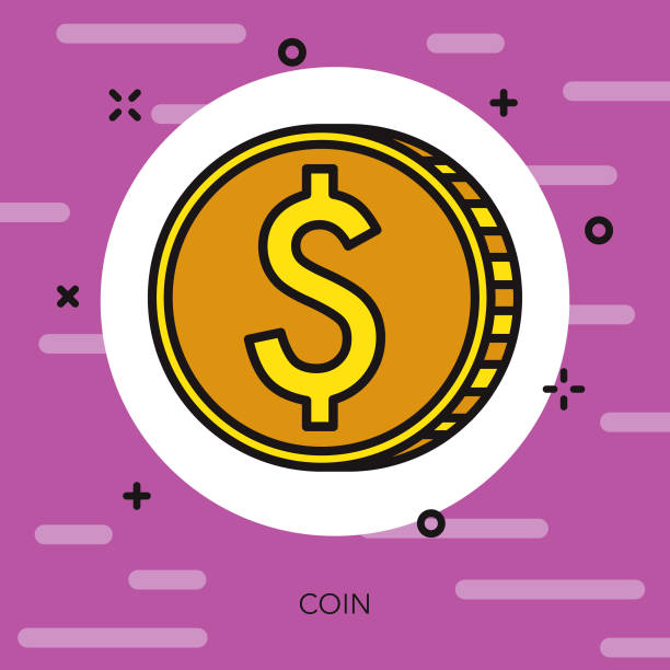 coin thin line carnival icon - thin line fonts stock illustrations