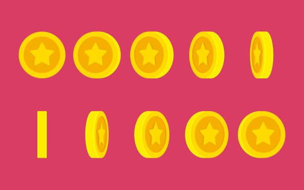 일반 배경에 스타 회전 애니메이션 스프라이트 시트와 동전 - 토큰 stock illustrations