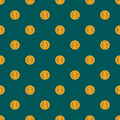 Coins E Commerce Seamless Pattern