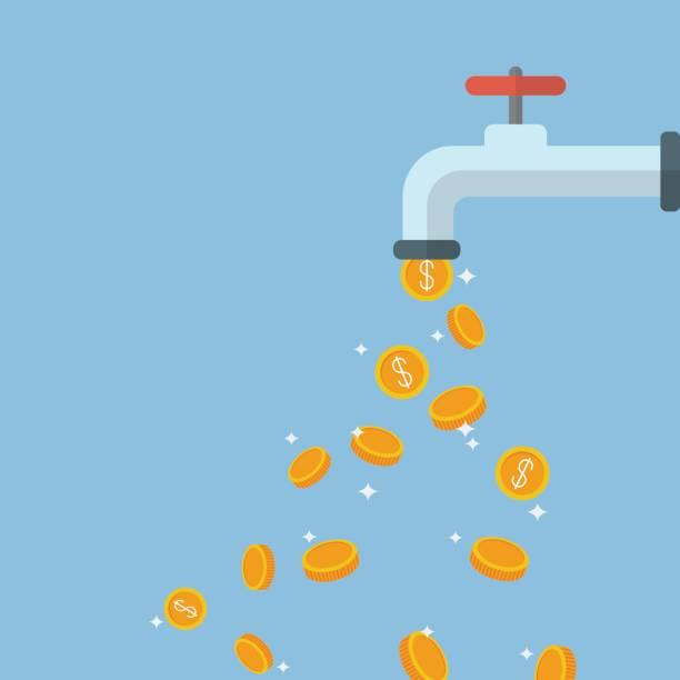 münzen fallen aus dem wasserhahn - fallrohr stock-grafiken, -clipart, -cartoons und -symbole