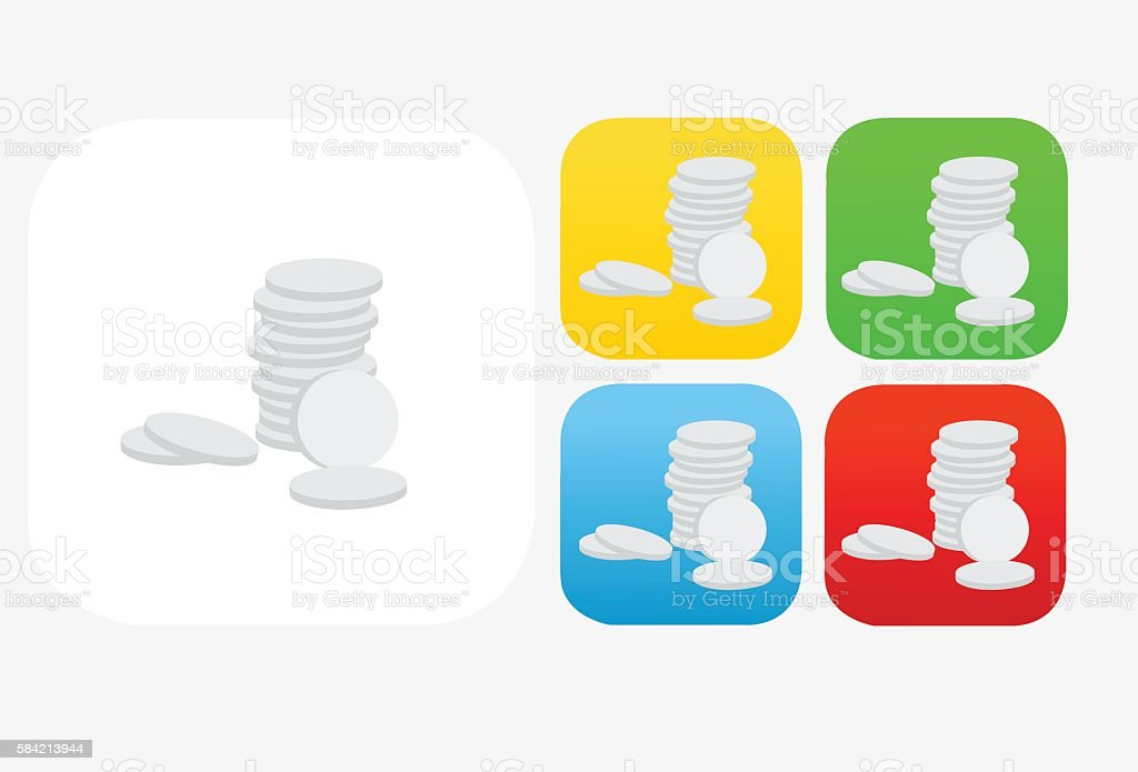 Coins Icon Flat Graphic Design vector art illustration