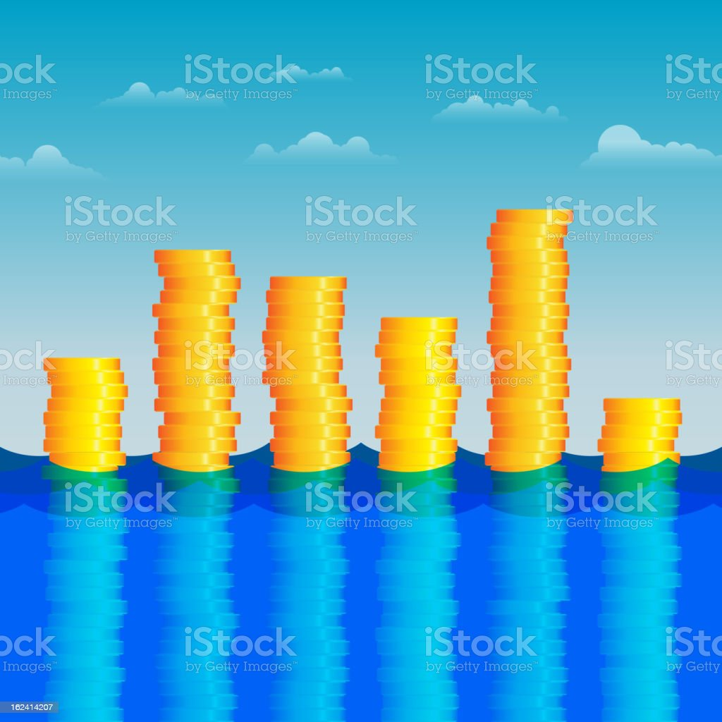 Coins in the Water royalty-free stock vector art