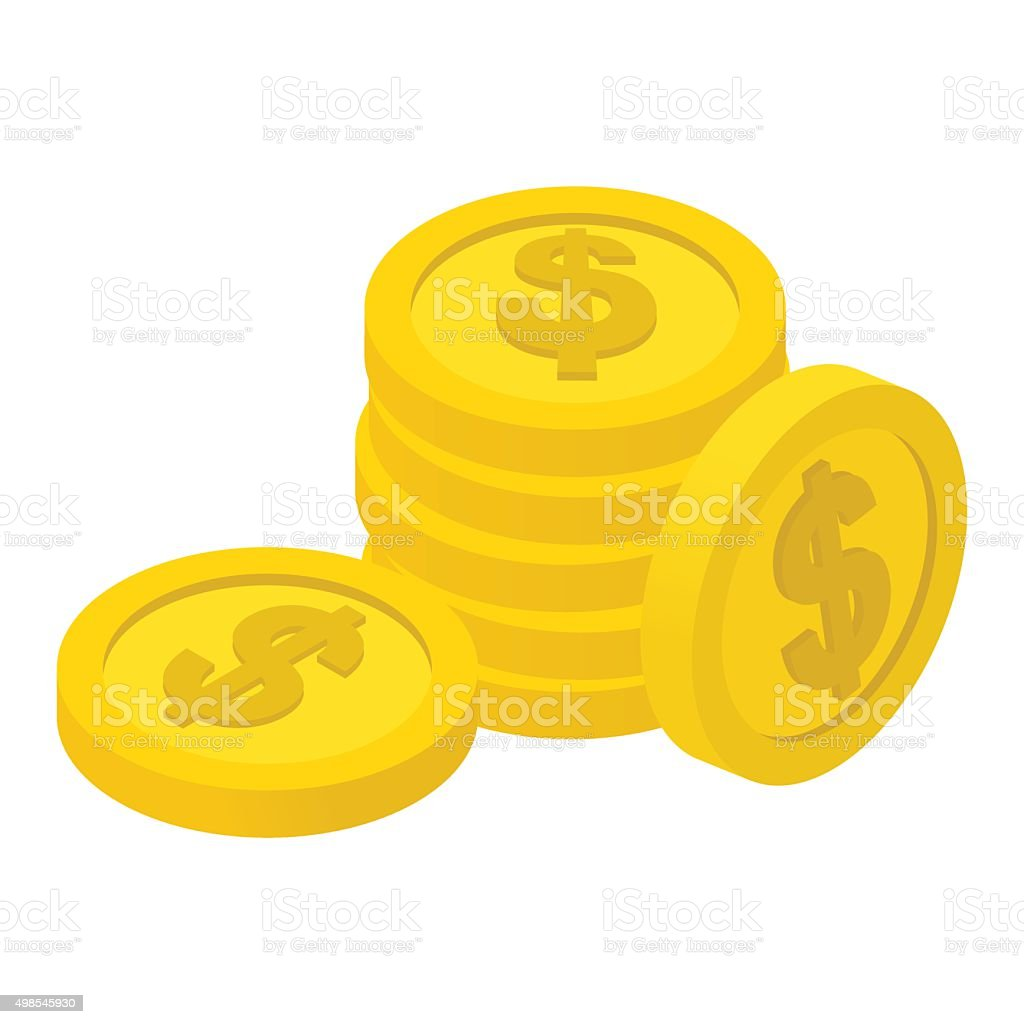 Coins isometric icon vector art illustration