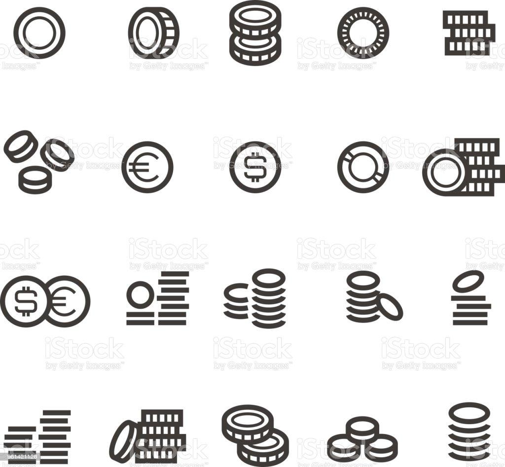 Münzen Linie Symbole Geld Steuern Verdienen Und Bargeld ...