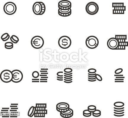 Coins line icons. Money, tax, earn and cash outline vector symbols isolated. Cash coin profit, linear money dollar and euro illustration