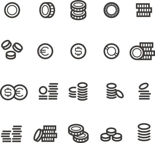 동전 라인 아이콘. 돈, 세금, 적립 및 현금 격리 개요 벡터 기호 - 토큰 stock illustrations