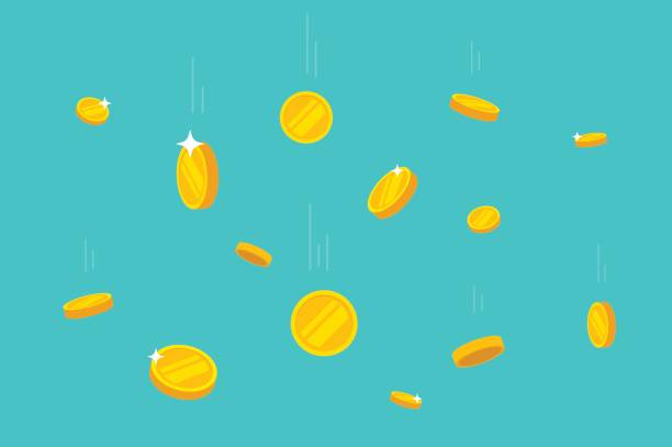 ilustrações, clipart, desenhos animados e ícones de moedas caindo ilustração em vetor dinheiro, plana, deixar cair moedas de ouro - moeda