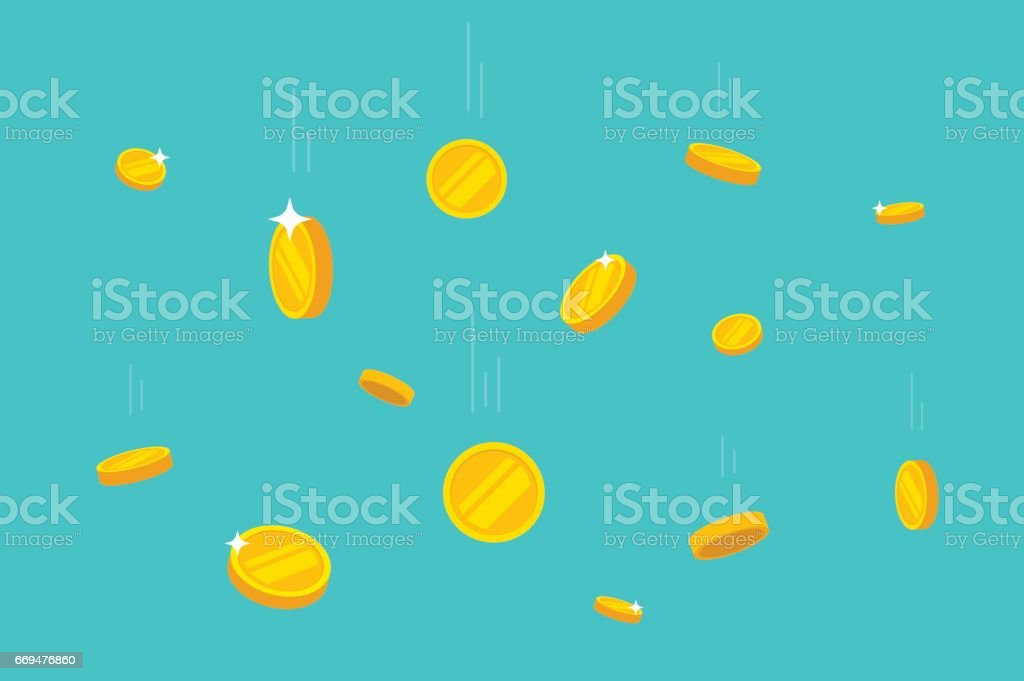 Coins money falling vector illustration, flat dropping gold coins vector art illustration