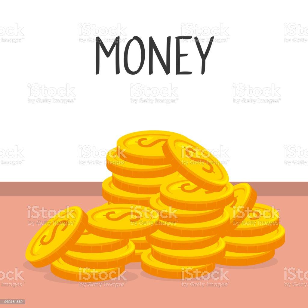 ícone isolado de moedas dinheiro - Vetor de Antiguidades royalty-free