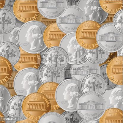 A seamless pattern of coins.