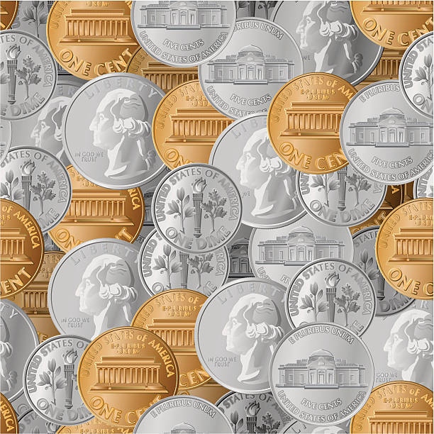 coins seamless A seamless pattern of coins. nickel stock illustrations