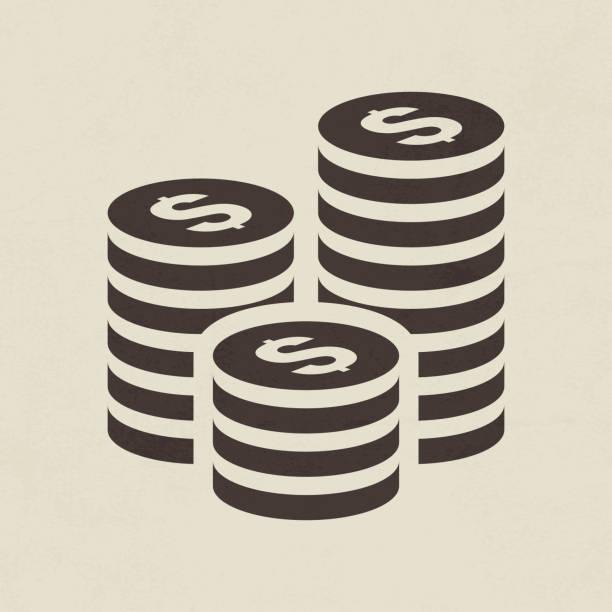 ilustrações, clipart, desenhos animados e ícones de ícone de pilha de moedas - moeda