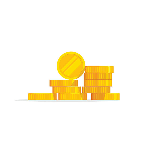 Coins stack vector illustration, icon flat, pile money isolated Coins stack vector illustration, coins icon flat, coins pile, coins money, one golden coin standing on stacked gold coins modern design isolated on white background stack stock illustrations