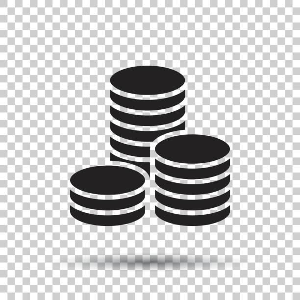 ilustrações, clipart, desenhos animados e ícones de ilustração em vetor de pilha de moedas. ícone de dinheiro moedas empilhadas em estilo simples. - moeda
