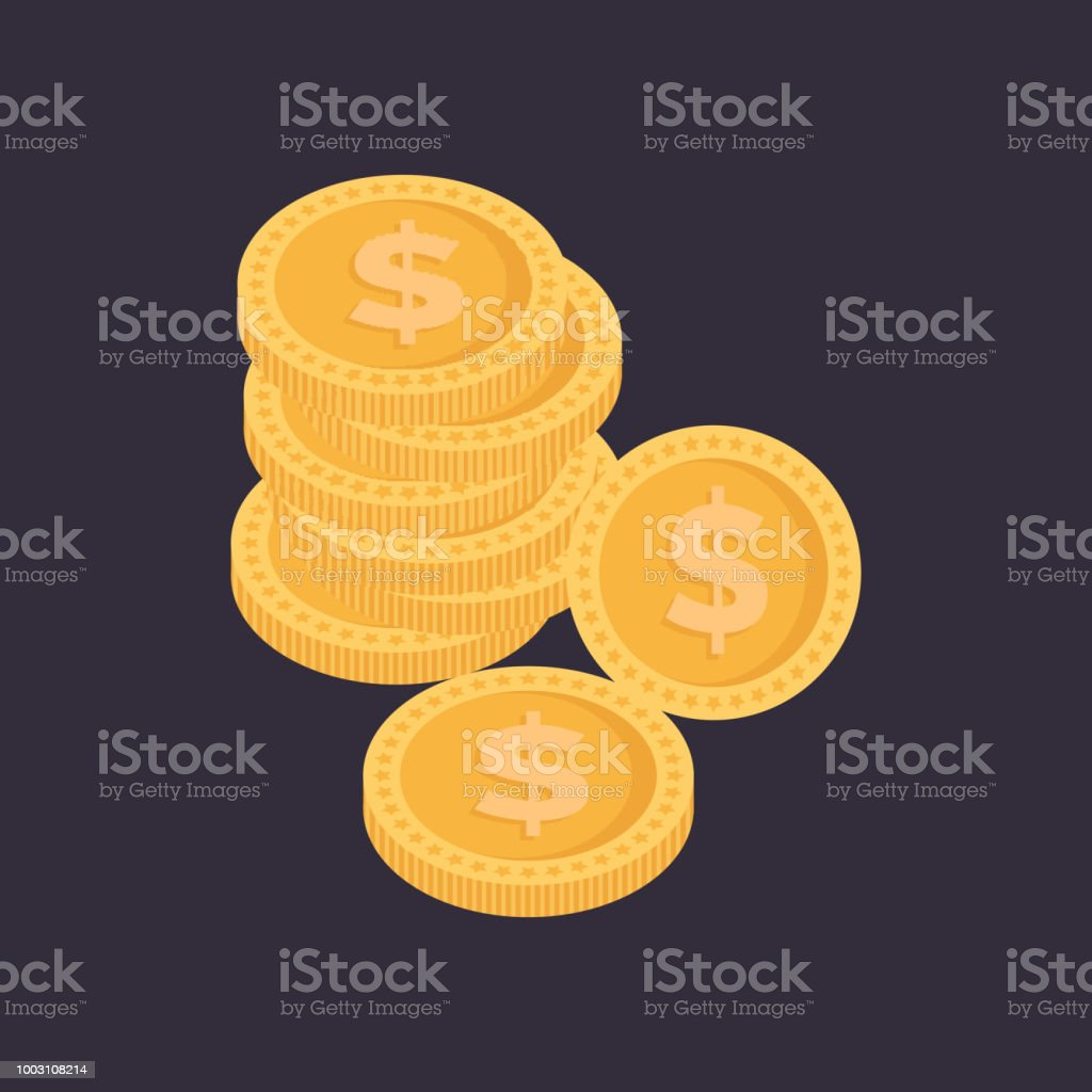 Coins stack vector illustration, pile money isolated vector art illustration