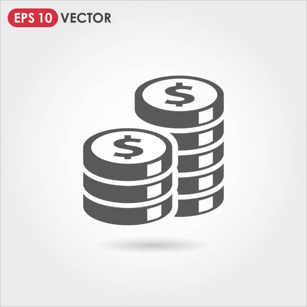 münzen vektor icon - flat icons stock-grafiken, -clipart, -cartoons und -symbole