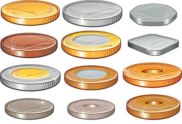 Coins Numismatic Collection of world coins,all forms and metals dime stock illustrations