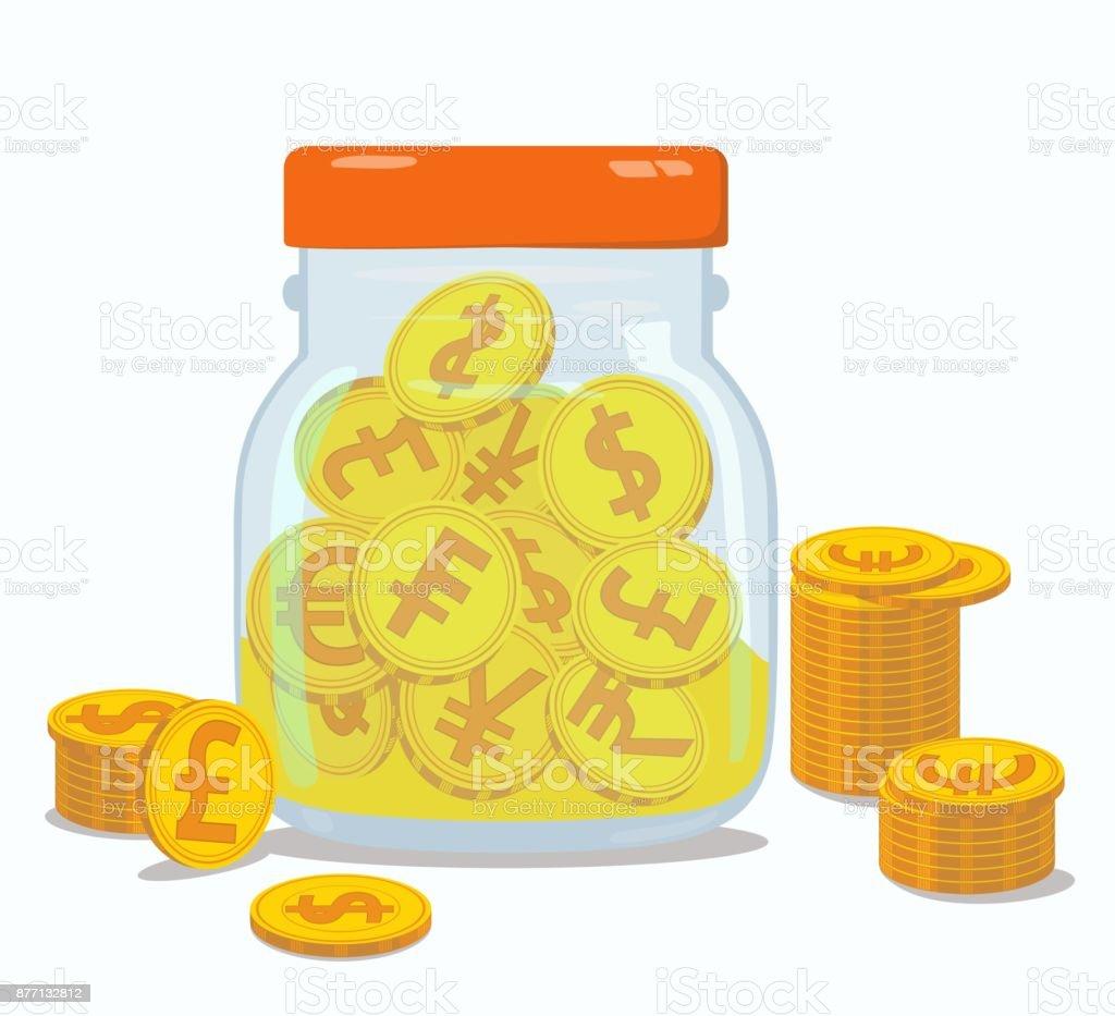 Münzen Mit Währung Logos In Geschlossenen Bank Vektorillustration