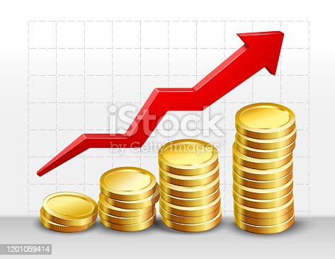 istock coins with success arrow 1201059414