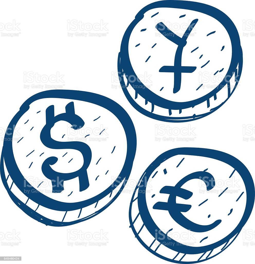 Coins with symbols of foreign currency icon stock vector art coins with symbols of foreign currency icon royalty free coins with symbols of foreign biocorpaavc Image collections