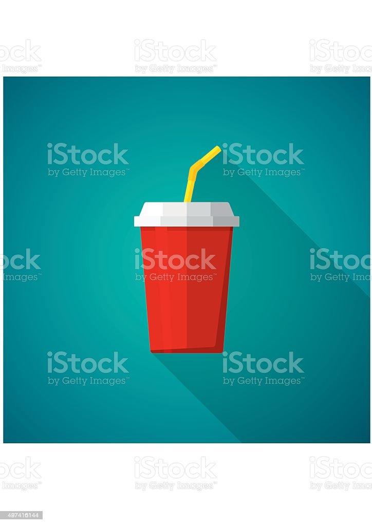 Cola e Soda. Tazza di fast food. Icona di bevande - illustrazione arte vettoriale