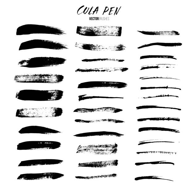 Cola pen and brushes vector set. Brushes isolated on white background. vector art illustration