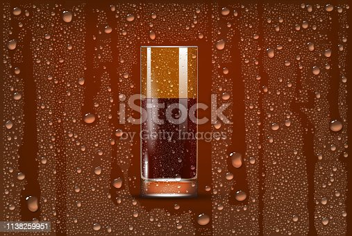 Cola Transparent Slightly Glass On Foggy Background With Dros. 3d Photo Realistic Vector Illustration