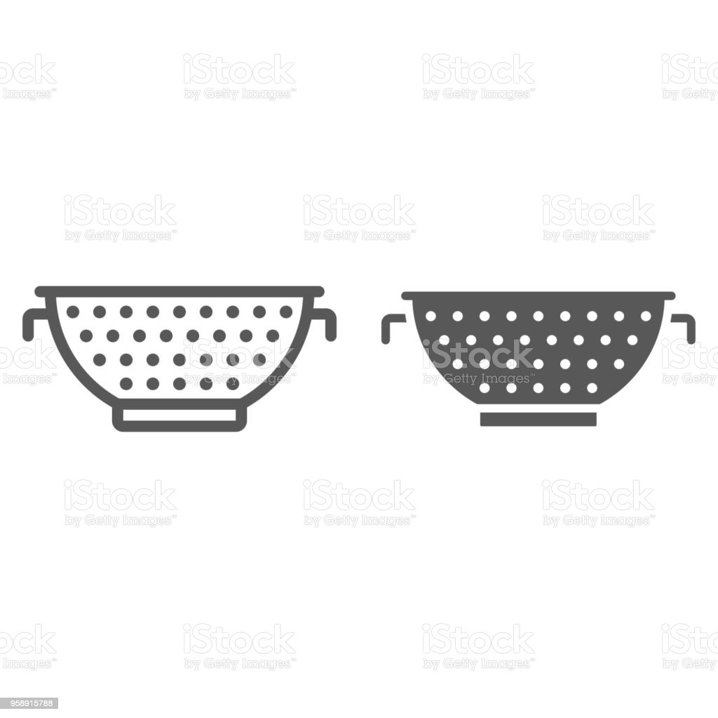 Colander line and glyph icon, kitchen and cooking, strainer sign vector graphics, a linear pattern on a white background, eps 10. vector art illustration