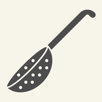 Colander solid icon. Handle kitchen strainer symbol, glyph style pictogram on beige background. Kitchen utensils and cooking sign for mobile concept and web design. Vector graphics.
