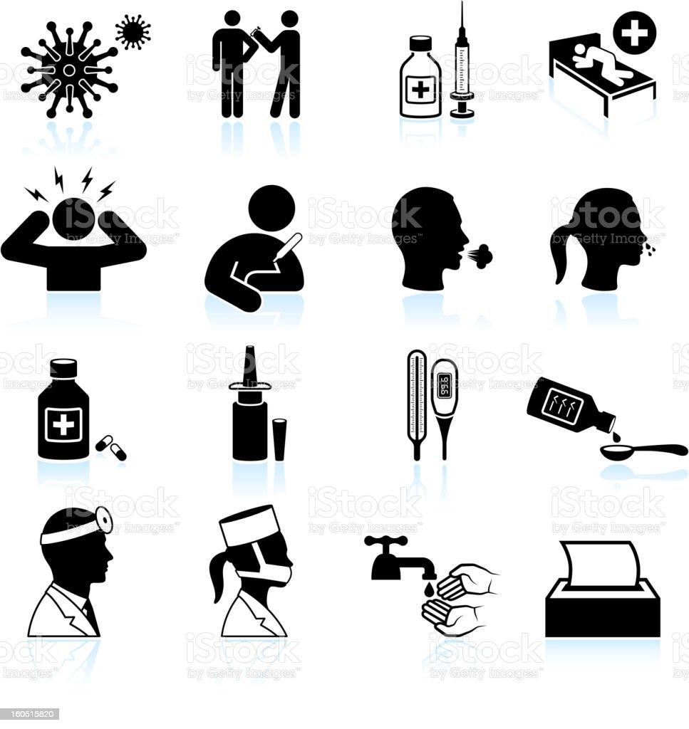 cold and flu black & white vector icon set vector art illustration