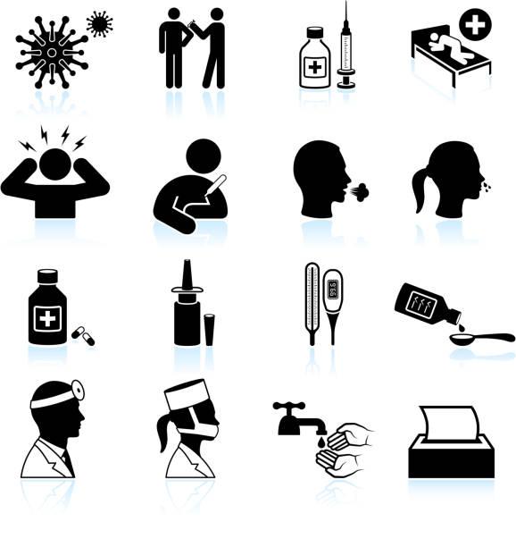 bildbanksillustrationer, clip art samt tecknat material och ikoner med cold and flu black & white vector icon set - sneezing