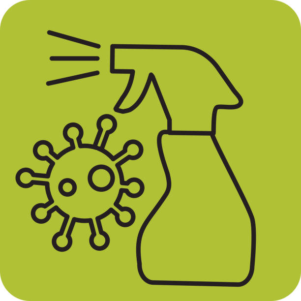 Cold and flu hygiene and cleaning bacterium with spray bottle vector art illustration