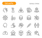 Cold and Flu Icons (Editable Stroke)
