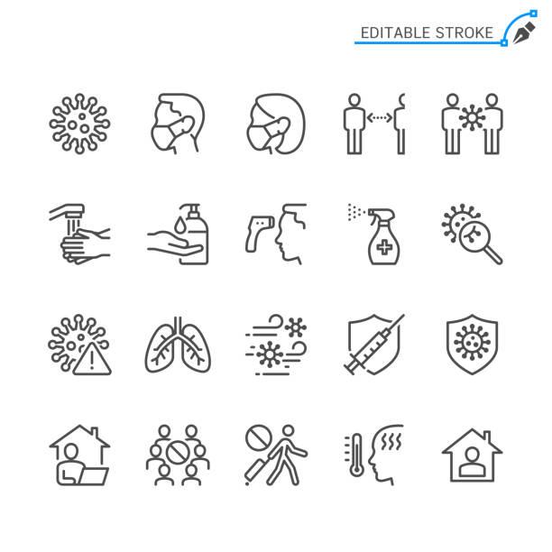 illustrazioni stock, clip art, cartoni animati e icone di tendenza di icone della linea di prevenzione del raffreddore e dell'influenza. tratto modificabile. pixel perfetto. - protezione