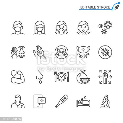Cold and flu prevention line icons. Editable stroke. Pixel perfect.