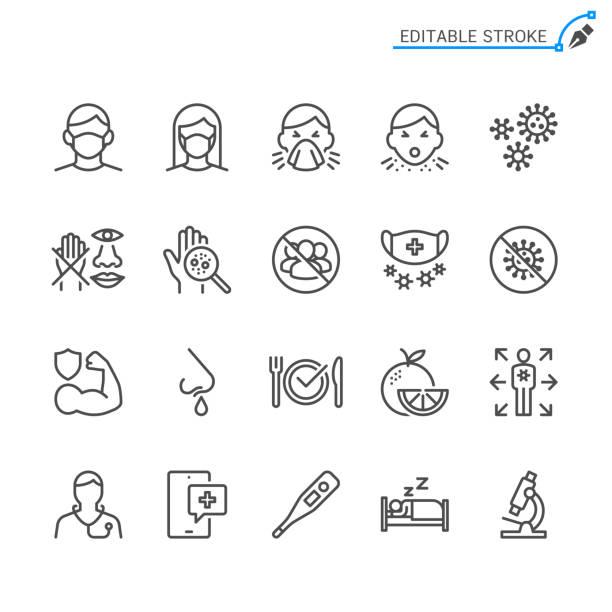illustrations, cliparts, dessins animés et icônes de icônes de ligne de prévention du rhume et de la grippe. accident vasculaire cérébral modifiable. pixel parfait. - medecin covid