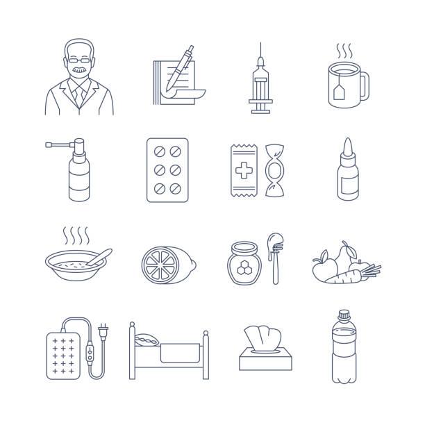 illustrations, cliparts, dessins animés et icônes de icônes de contour mince de ligne de traitement de froid et de grippe - pastille