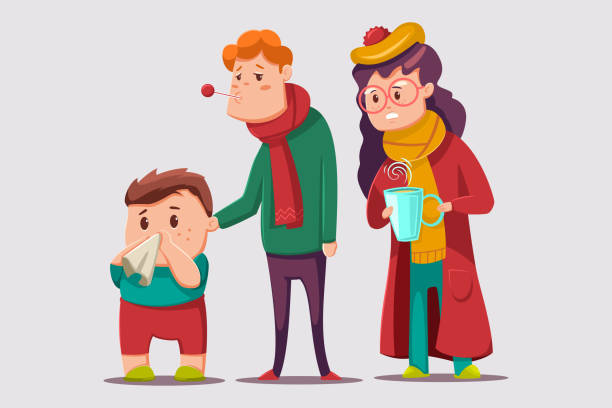 Cold and flu vector cartoon illustration. Sick family character. Ill people isolated on background. Cold and flu people vector cartoon illustration. pneumonia stock illustrations