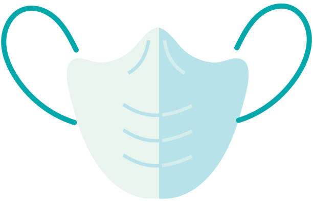 Cold and flu virus n-95 protective facial mask icon vector art illustration