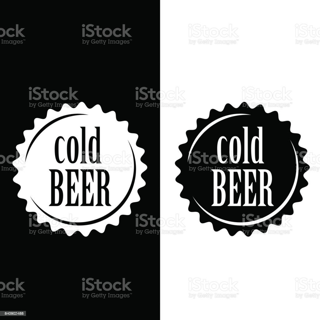 Cold beer vector cap sign.