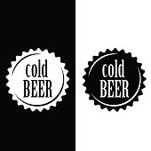 Cold beer vector cap sign.